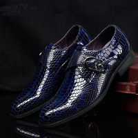 Men S Cow Leather Dress Shoes 2017 Autumn Stylish Men Blue Black Brown Handmade Snake Pattern