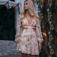 Lantern Sleeve Cross Beach Mini Dress Woman Summer Backless Sexy Deep V Print Bodycon Vestidos Short Dress