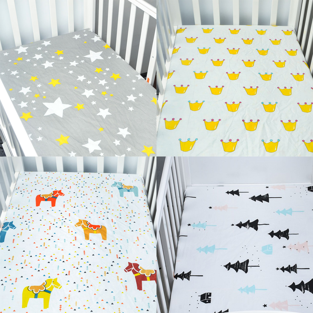 100% Cotton Bed Linen Crib Fitted Sheet Soft Baby Bed Mattress Cover Cartoon Print Newborn Bedding For Cot Fitted Sheet scalloped fitted