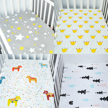 100% Cotton Bed Linen Crib Fitted Sheet Soft Baby Bed Mattress Cover Cartoon Print Newborn Bedding For Cot Fitted Sheet(China)