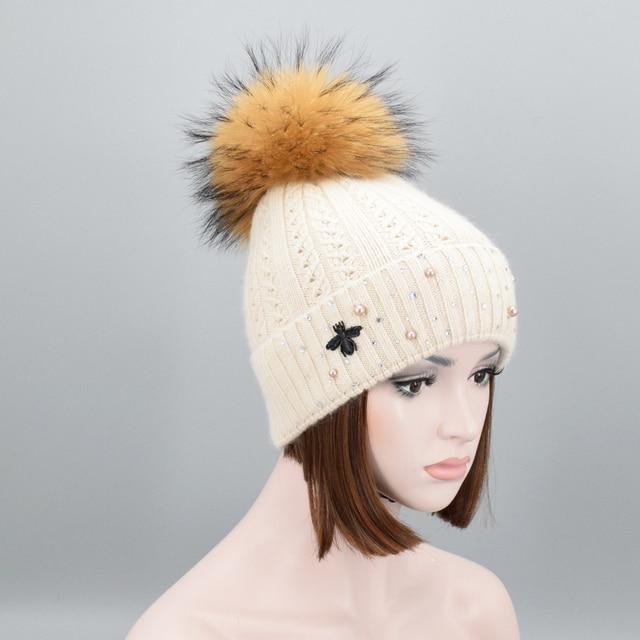Naturale pelliccia di Procione pompon Berretti donna di Lusso Perle Strass Cappelli  di Lana Caldo di d635951b4ce9