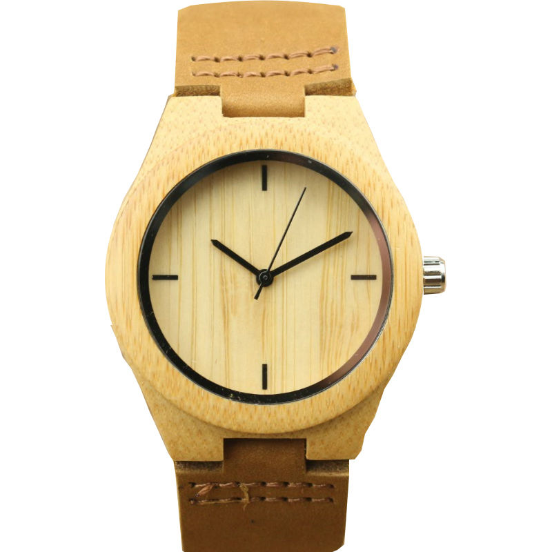 Women Size Natural Bamboo Wristwatch High Quality Girls Simple And Light Color Bamboo Leather Japan Movement Dress Watch