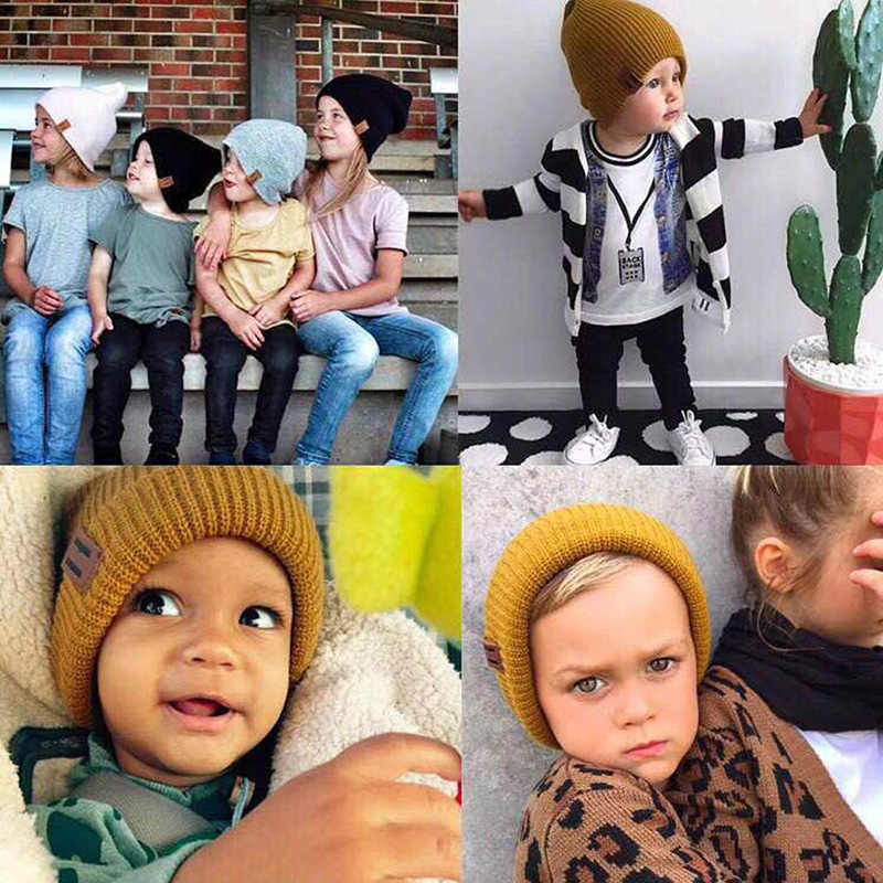 ... 2018 Arrival Cute Kid Babies Beanies Hats Baby Crochet Knit Solid Color Hat  Daddy and Me ... e25f3004604