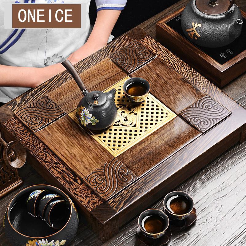 Plateau à thé en bois massif thé mer poulet aile ébène tiroir Table thé Ware pierre plateau à thé avec support Kongfu