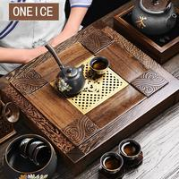Solid Wood Tea Sea Chicken Wing Ebony Kung Fu Set Tray Drawer Table Tea Ware Stone tea tray with stand