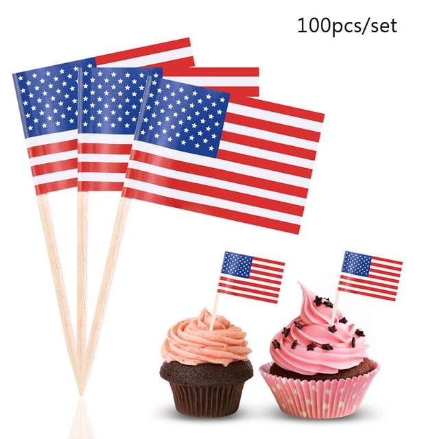 US Flag Picks American Flag Birthday Party Flag Food Cake Decoration ...