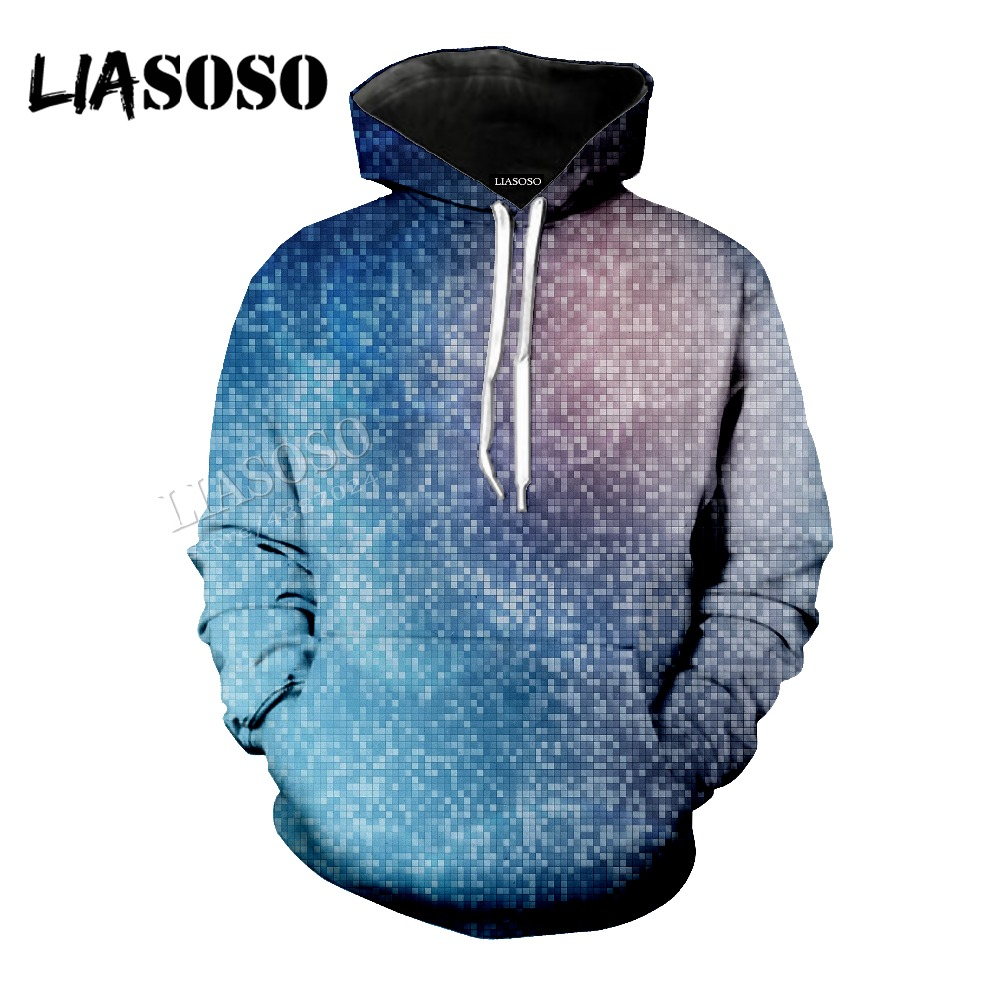 LIASOSO new neutral fashion sweatshirt shiny mosaic 3D printing short sleeve / top / hooded shirt / zipper hoodie CX089