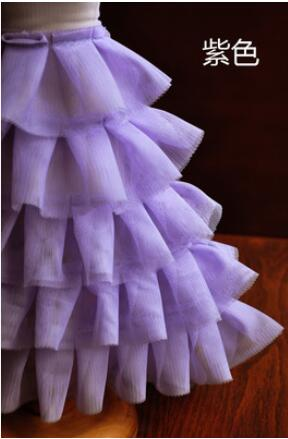 Frilly Layered Tutu Net Mesh Stretch Ribbon Waist Ballet Dance Party Short Skirt