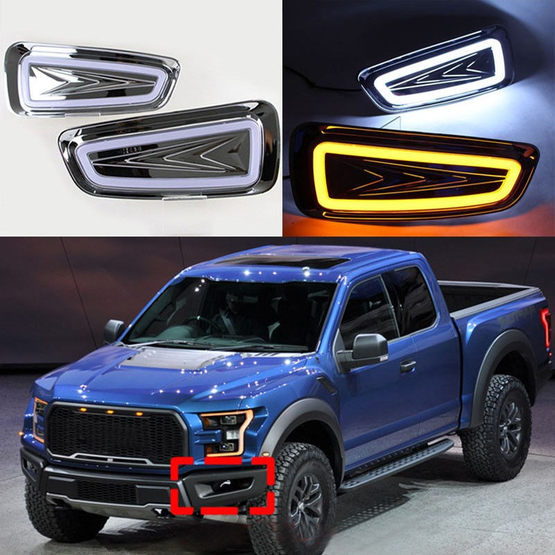 Car White+Yellow LED Daytime Running Lights For Ford F-150 Raptor SVT 2009-2014 13 12 11 10 DRL Fog lamps басовый усилитель ampeg svt 7pro