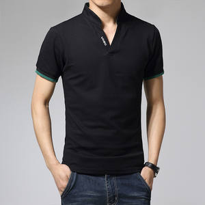 2019 New Summer Men's Fashion Boutique Hitting Scene Short Sleeve T-Shirts  Leisure Male Slim Stand Collar Casual T-shirts
