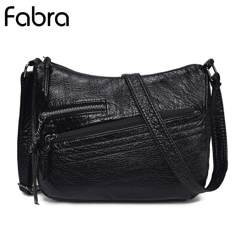 Fabra New Women Crossbody Bag Casual Flap PU Leather Small Handbag Ladies Messenger Shoulder Hobos Bag Long Strap Bags Black