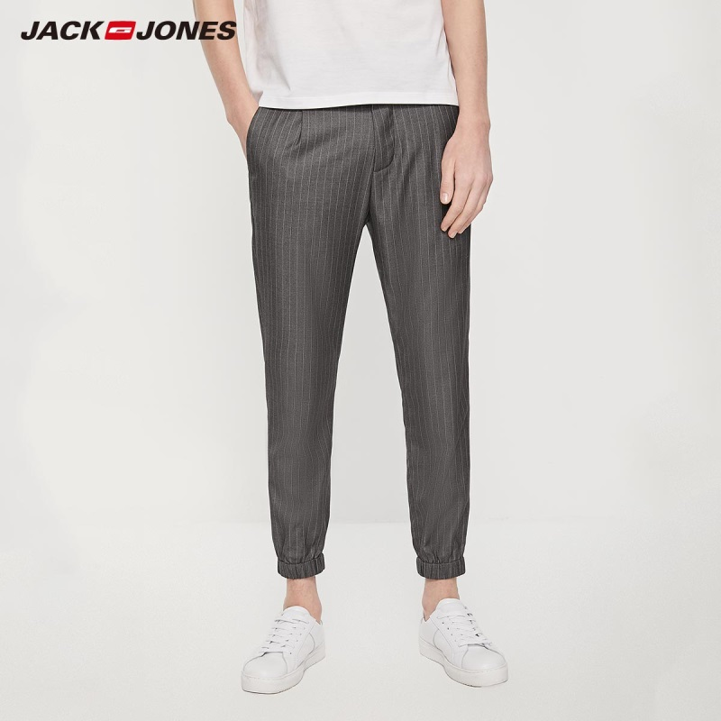 Jack Jones Vertical Grey Striped Slim Fit Ankle-banded Cropped Pants Menswear 219214525