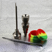 Bong Tool Set 10/14/18mm Gr2 Titanium Nail Carb Cap Dabber Slicone Jar Glass Smoking Water Pipes bongs pipe