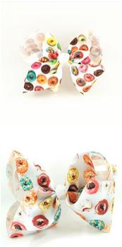 120pcs DHL Free shipping White Donut Bow Boutique Doughnut Hair Bow 4 inch Bow Dessert Bow Sweet HairBow