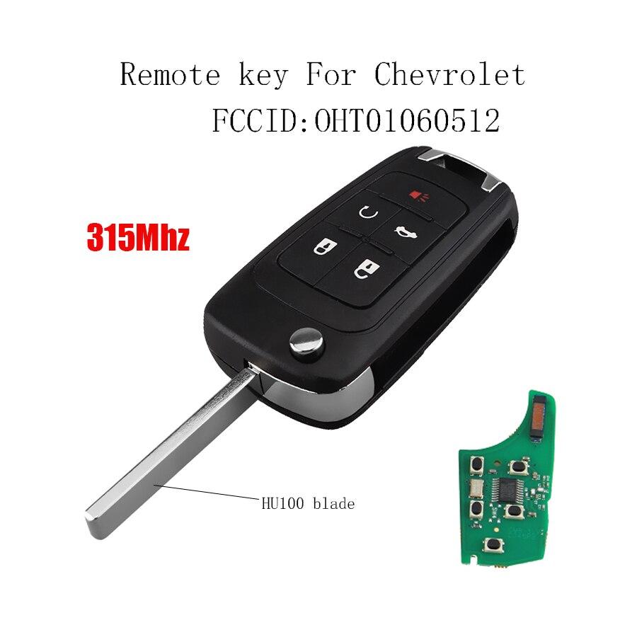 5 Knop 315 Mhz Afstandsbediening Sleutel Voor Chevrolet Cruze Equinox Malibu Camaro 2010-2017 Oht01060512 Transponder Chip Id46/ Pcf7941