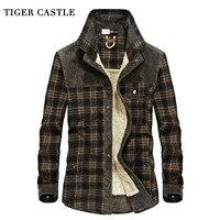 호랑이 성 남성 군사 양털 겨울 셔츠 100% 면 따뜻한 남성 격자 무늬 긴 소매 셔츠 육군 남성 드레스 셔츠 블라우스