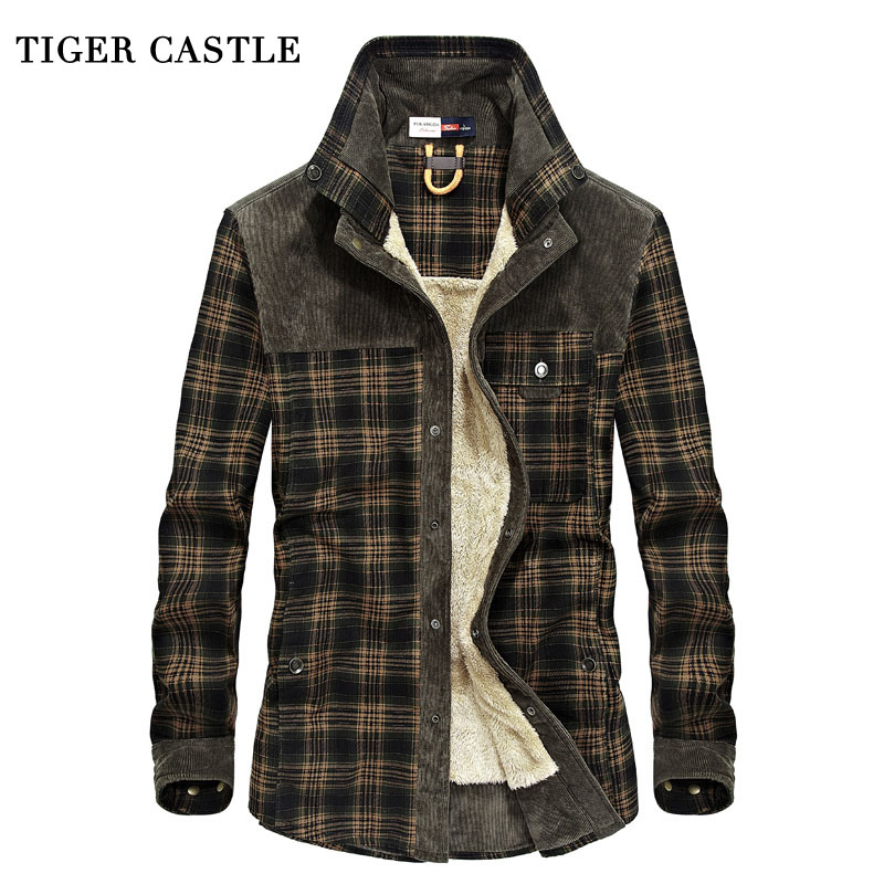 TIGER CASTLE Mens Military Fleece Winter Shirt 100 Cotton Warm Male Plaid Long Sleeve Shirt Army