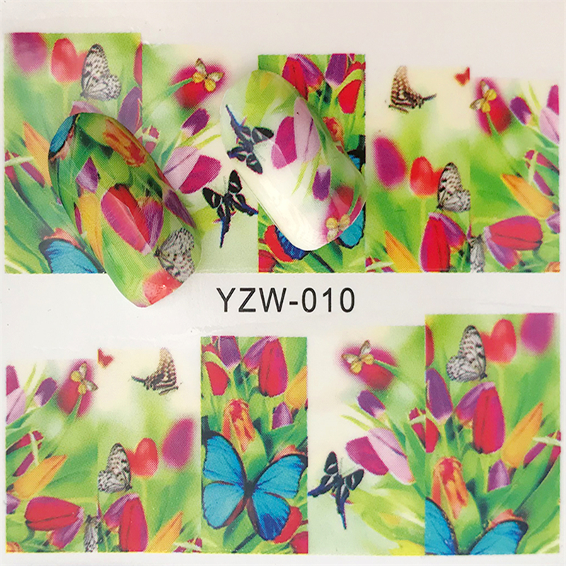 ZKO 1pcs Butterfly & Flower Summer Image Nail Decals Art Colorful Full Wraps for Nail Sticker Water Tips