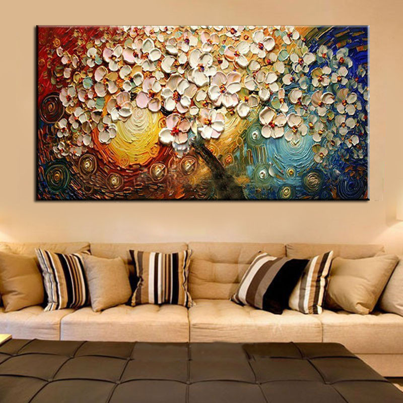 Unframed Handpainted On Canvas Wall Art Abstract Modern Acrylic Flowers Palette Knife Oil Painting for Home