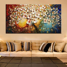 Unframed Handpainted On Canvas Wall Art Abstract Modern Acrylic Flowers Palette Knife Oil Painting for Home Decorative Sets(China)