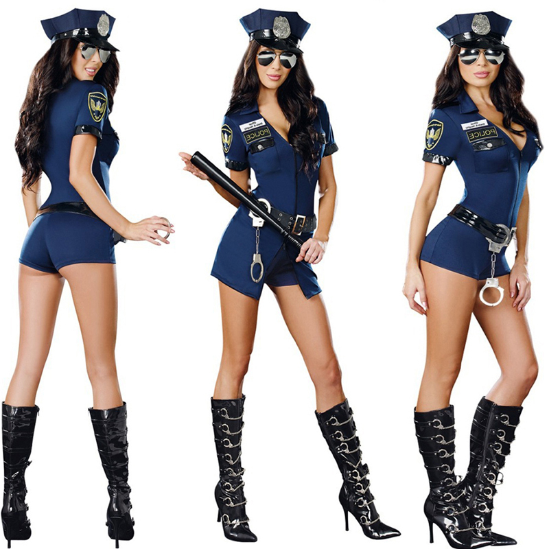 Women Sexy Police Officer Cosplay Costume Halloween Policewoman Cop Bodysuit With Handcuffs Fancy Dress Uniform For Role Playing