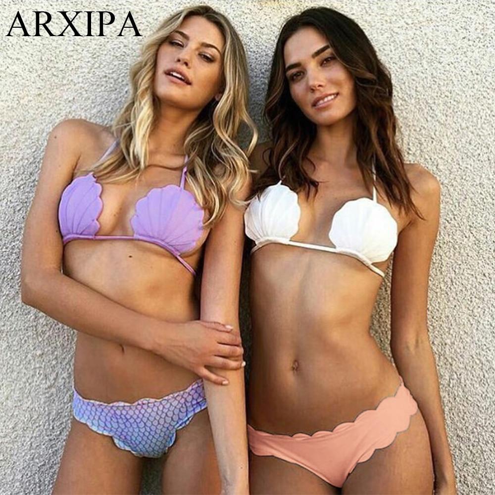 ARXIPA 2020 New Low Waisted Swimsuit Halter Shell Mermaid Swimwear Women Scalloped Bikini Set Bathing Suits Beachwear Swim Suit