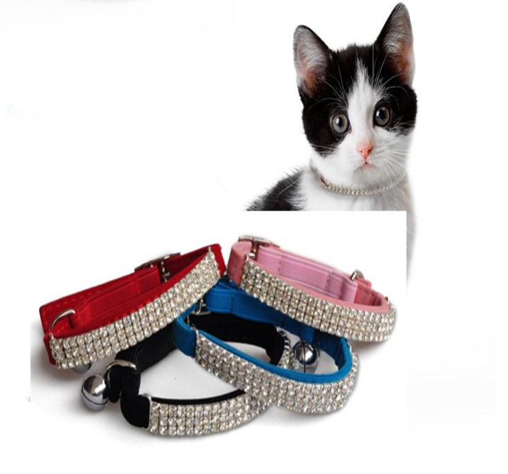 usd2 5 pc Diamante Rhinestone Bling Pets Cat Collars Soft Suede Leather Bell Dog Neck Strap