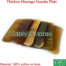 Thicken 5 pieces lot Wholesale Beauty Health Square Massage Guasha Board 100 yellow Ox Horn