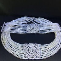 3 4MM natural fresh water pearl choker necklace and bracelet jewelry set 925 sterling silver square fine women jewelry