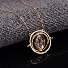 Caxybb Hot 1 pc Time Turner Necklace Hermione Granger Rotating Spins Gold Hourglass harry potter necklace free shipping(China (Mainland))