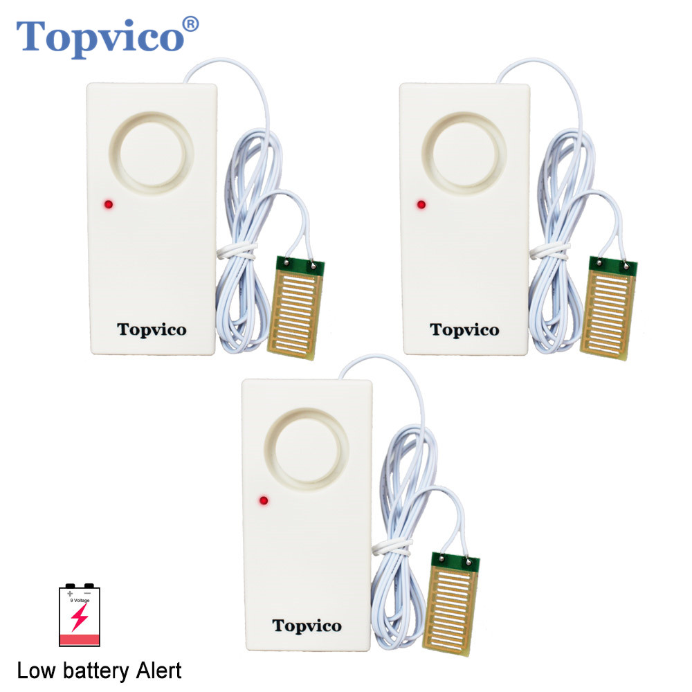 Topvico 3pcs Water Leakage Sensor Leak Detector Overflow Flood Alarm Detection 130dB LED Low Battery Alert Home Security Alarm