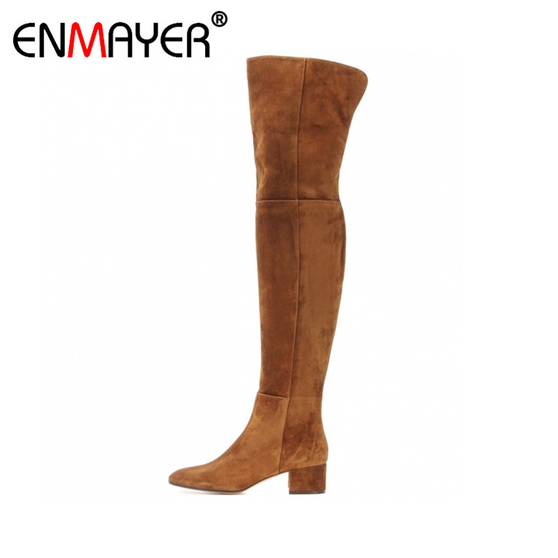 ENMAYER Flock Boots Over-the-Knee Zip Round Toe Chunky Heels 6 Colors Shoes Women Spring/Autumn Women Long Boots Party Shoes enmayer new fashion high heels long boots shoes woman over the knee zip round toe 3 colors black shoes platform shoes sexy charm