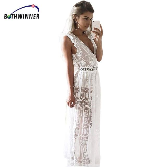 d73130c542f Bothwinner Sexy évider blanc dentelle robe femmes printemps taille haute  sans manches dos nu robe élégante