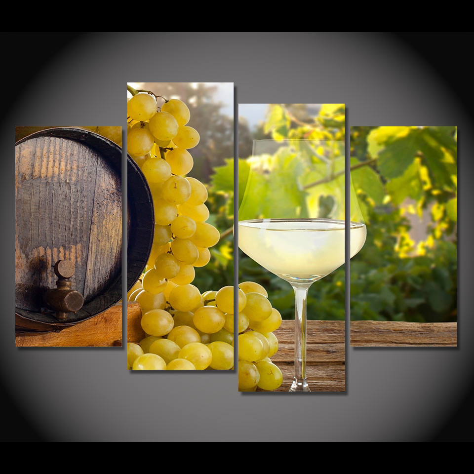 Canvas Painting 4 Piece Canvas Art Grape Barrels White Wine HD ...