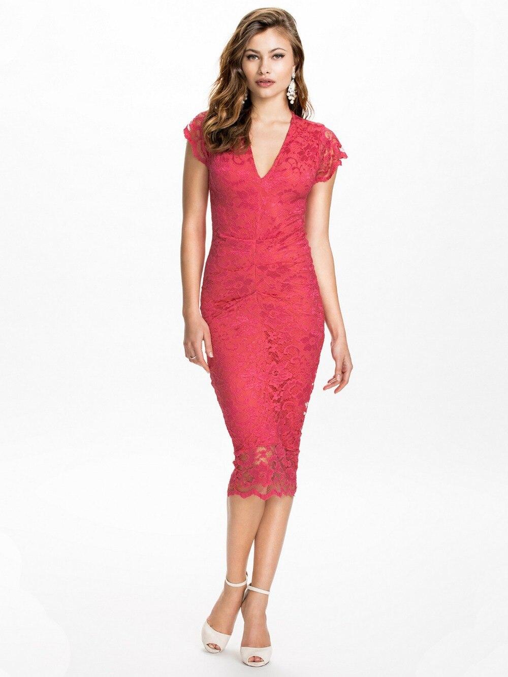 Lace dress knee length elegant