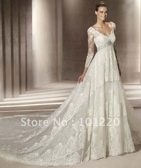 Free Shipping Cap Sleeves Bridal Dress Lace Embroidery Wedding