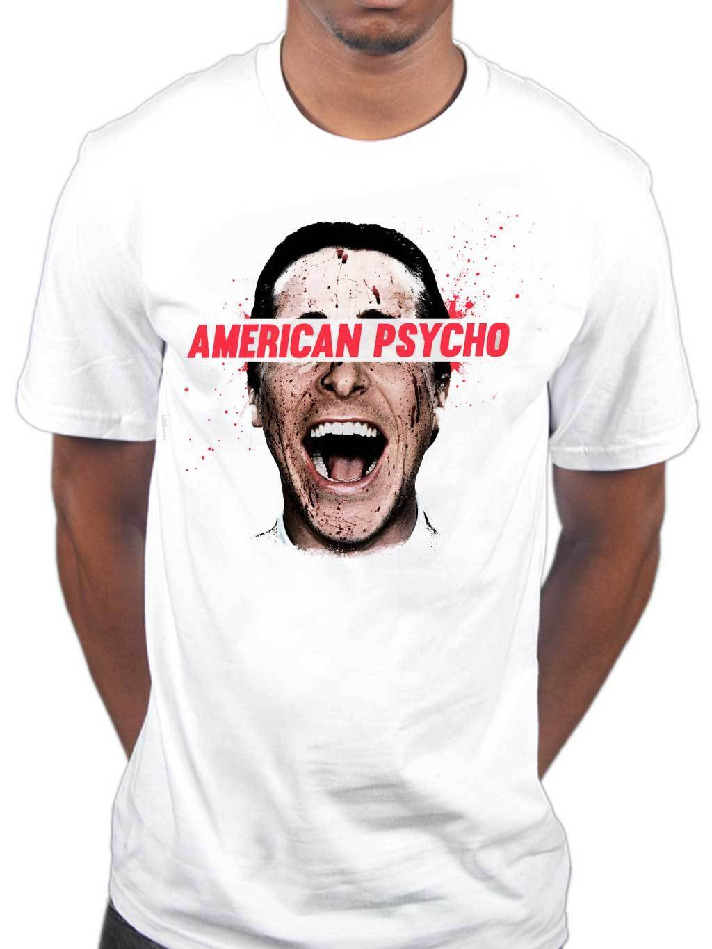 New design fitness funny Fashion MenS American Psycho T Shirt Movie Male Film Merchandise Bloody Printed
