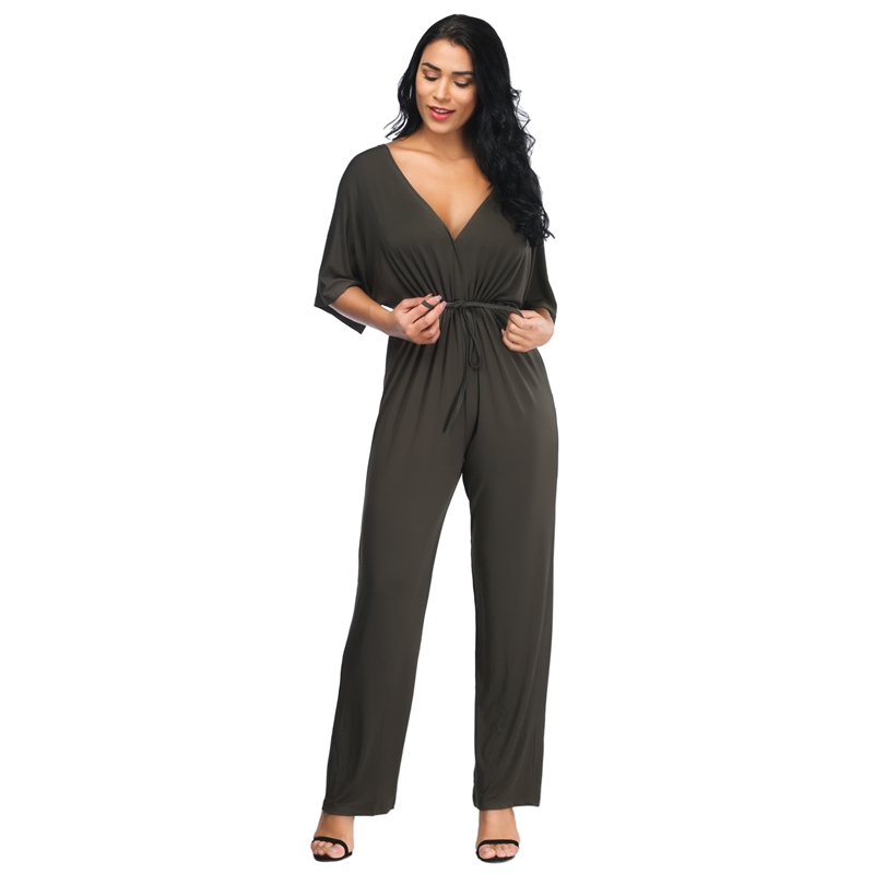 Yilia Sexy High Waist Women Summer Jumpsuits Batwing Sleeve Solid Loose Rompers Backless Bodysuit Fat MM Plus Size Jumpsuit