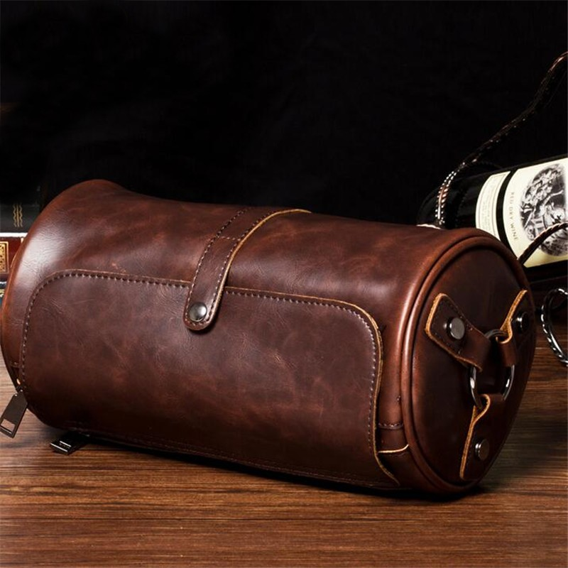 Real Brand Hot Sale New Fashion Men Bags Small Shoulder Bag Cylindrical Shape Men Messenger Bag