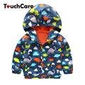 Мода Baby Boy Куртки Куртка С Капюшоном Животных Отпечатано Детские Пальто Верхняя Одежда для Детей Весна Осень Детская Одежда