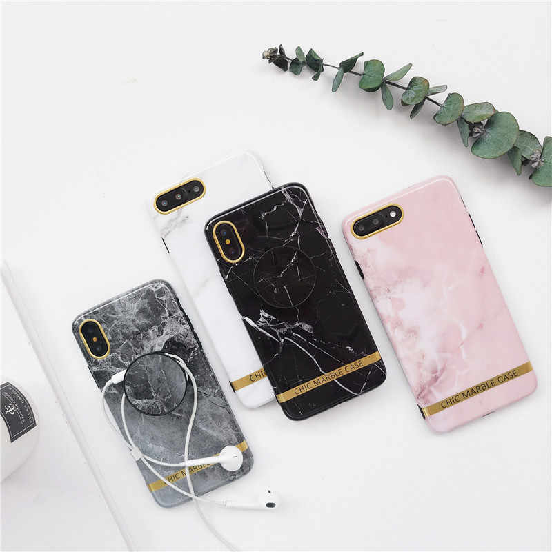 best sneakers 89151 225a7 Marble Case For Iphone 8 7 Plus X 6 S Plus Case Fashion Grip Stand Holder  Silicone Soft Phone Case For Iphone 7 Back Cover Coque