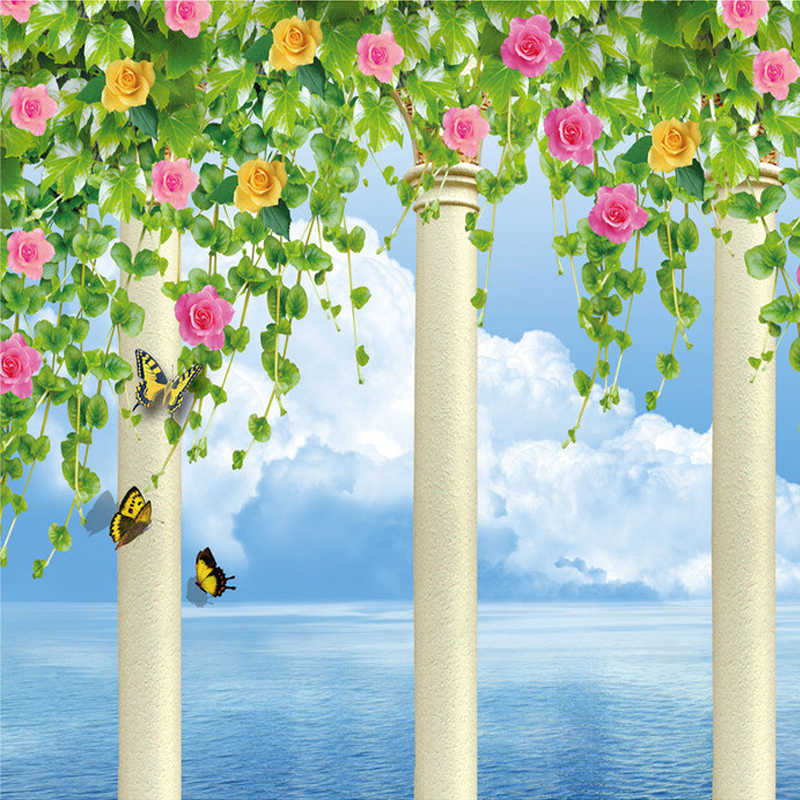 Papel pintado con foto 3D personalizado columna romana flor vid azul cielo para pared murales para sala de estar papel de pared de fondo de TV paisaje natural