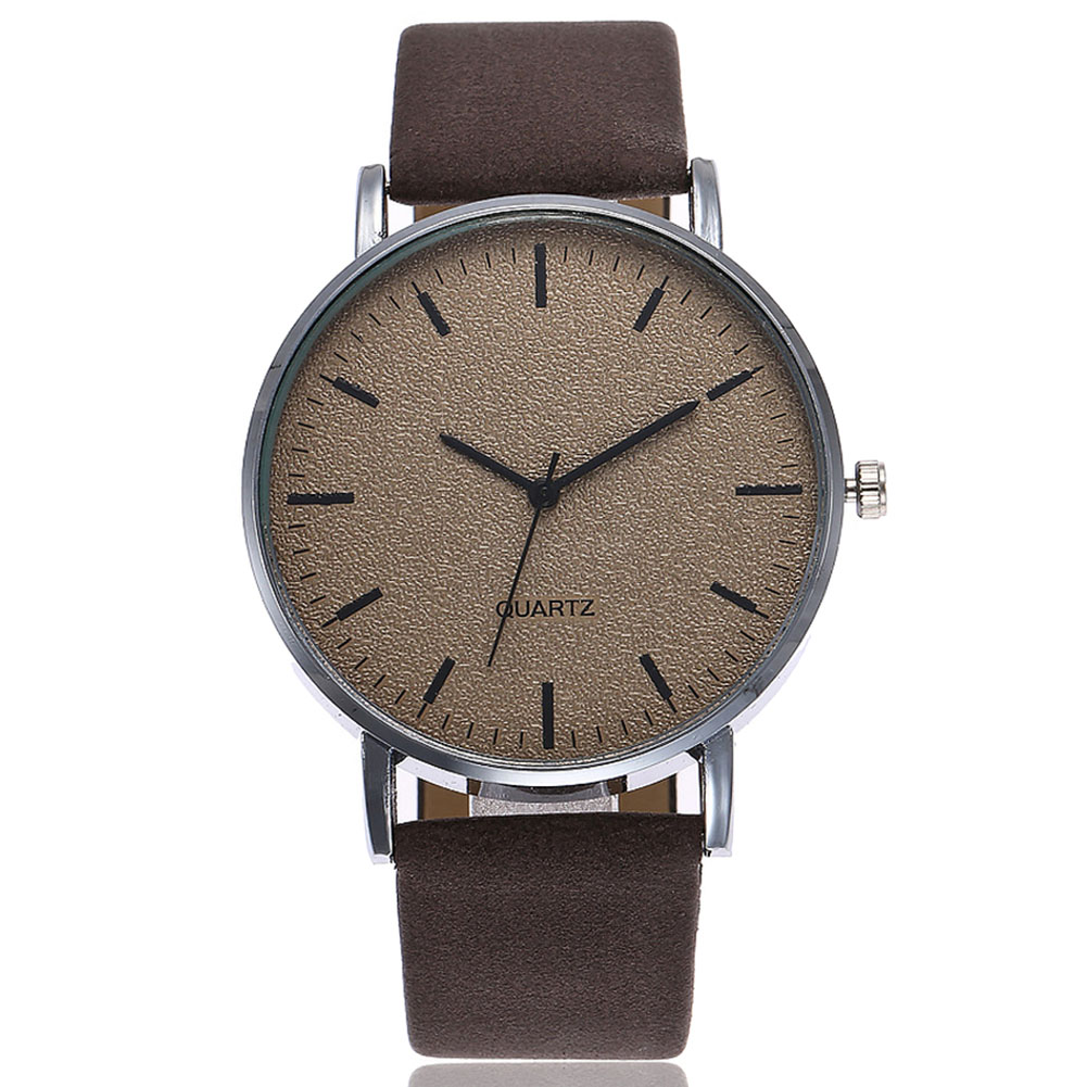 Unisex Men Women Matte Dial Wristwatch Leather Band Quartz Wrist Watch  LXH