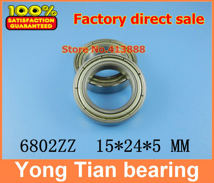 NBZH sale price 500pcs free shipping thin wall deep groove ball bearing <font><b>6802ZZ</b></font> 15*24*5 mm ABEC-1 Z2 image