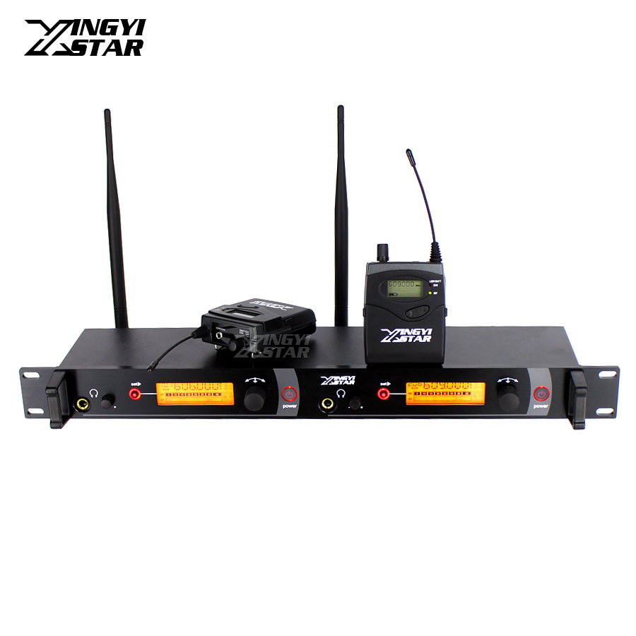 Wireless In Ear Monitor System Professional Stage Performance Monitors Two Bodypack Receivers in Earphone Monitoring Transmitter ukingmei uk 2050 wireless in ear monitor system sr 2050 iem personal in ear stage monitoring 2 transmitter 2 receivers