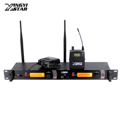 Wireless In Ear Monitor System Professional Stage Performance Monitors Two Bodypack Receivers in Earphone Monitoring Transmitter