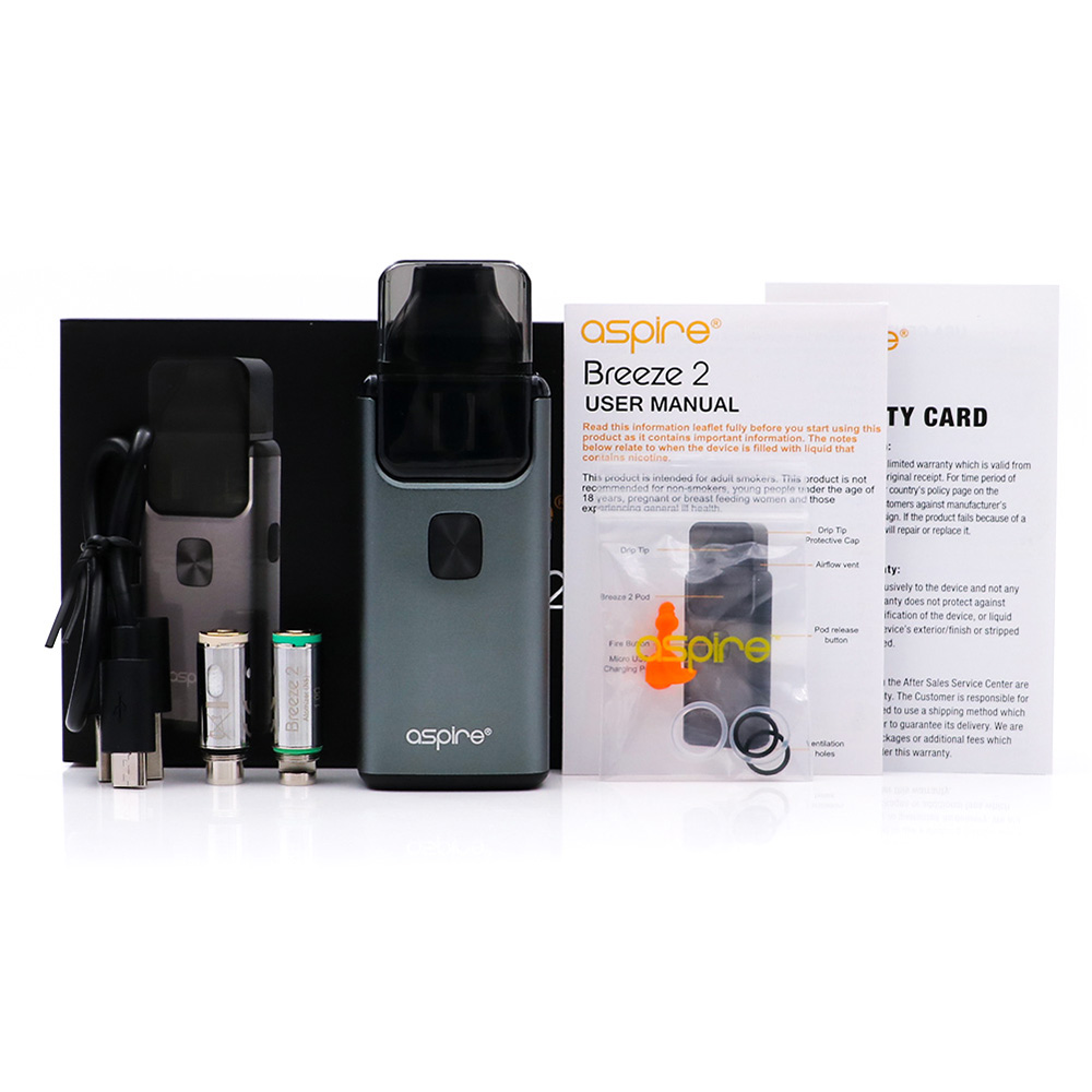 US $31 0 20% OFF|Big sale!! Original Aspire Breeze 2 AIO Kit Built in  1000mAh Battery with 2ml/3ml Tank Atomizer Electronic Cigarette Vape Kit-in