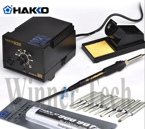 110/220V US/EU Plug HAKKO 936 Soldering Station ,907 soldering handle + 10pcs High Quality Solder Tips +A1321 heat element  цены