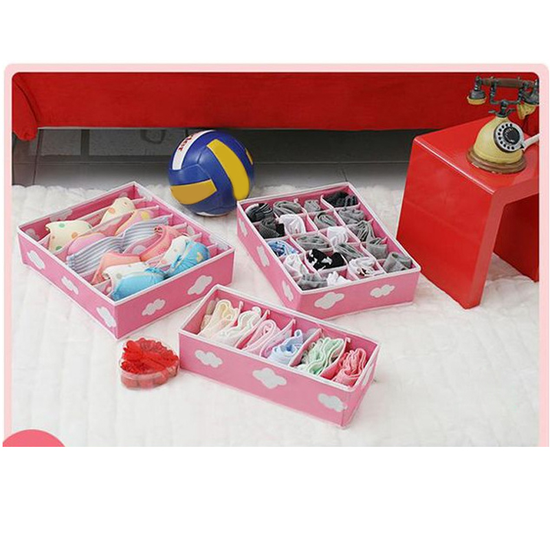 Non Woven Fabric Pink Storage Box Container Drawer Divider Closet Boxes  Ties Socks Bra Underwear Storage Bins Cube Organizer