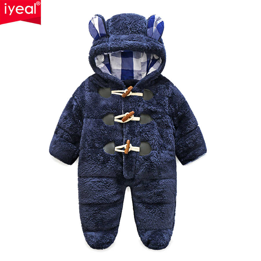 206434b1730f0 IYEAL Winter Newborn Baby Boy Rompers Thermal Cotton Warm Thickening  Jumpsuits Coral Fleece Hooded Girls Outwear